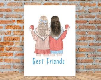 Best friends birthday gift, Best friends print, friendship gift, Best friend picture, girls bedroom print, girls bedroom decor