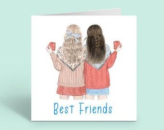 Best Friends card. Friendship.  Two girls with mugs. Blank Inside.