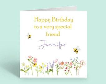 Personalised Special Friend Birthday Card,  blank inside.