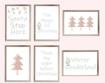 Christmas wall art bundle, Set of 6 prints, Santa stop here, Christmas decorations, printable festive signs, instant download