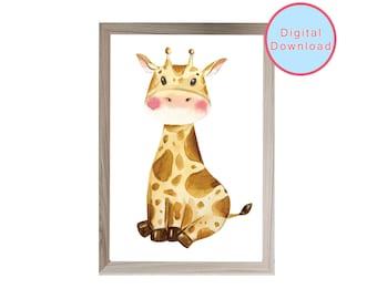 Printable nursery wall art, Baby Giraffe print, safari nursery wall decor, kids bedroom art, digital download print,