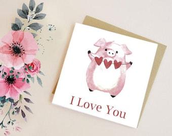 Greetings card Birthday card Anniversary card Pig card Card for wife digital art I love you card blank inside Cute digital art