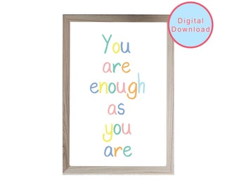 You are enough print, Positive affirmation printable, Gift for her, Inspirational wall art, motivational print, digital download, home decor