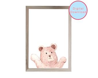 Peeking bear, animal printable wall art, woodland animal wall art, nursery decor, baby shower gift, digital download, animal art print