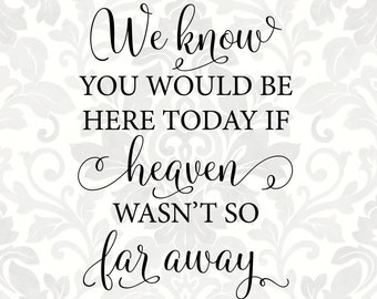 graphic about We Know You Would Be Here Today Free Printable called If heaven werent Etsy