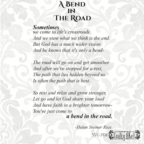 A Bend In The Road Poem Let Go And Let God Svg Svg Pdf Etsy