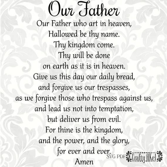 Our Father The Lord's Prayer SVG PDF Digital File | Etsy