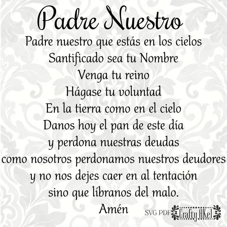 Padre Nuestro (Our Father, Lord's Prayer) (Spanish SVG, PDF, Digital File  Vector Graphic)