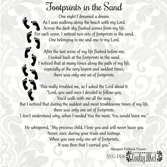 Footprints in the sand printable poem religious keepsake.