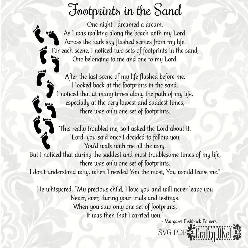 photograph about Footprints Poem Printable identify Footprints inside of the Sand Poem (SVG, PDF, Electronic Report Vector Image)