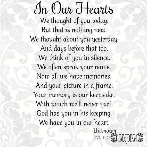 In Our Hearts Poem Bereavement Mourning Sympathy Grief | Etsy