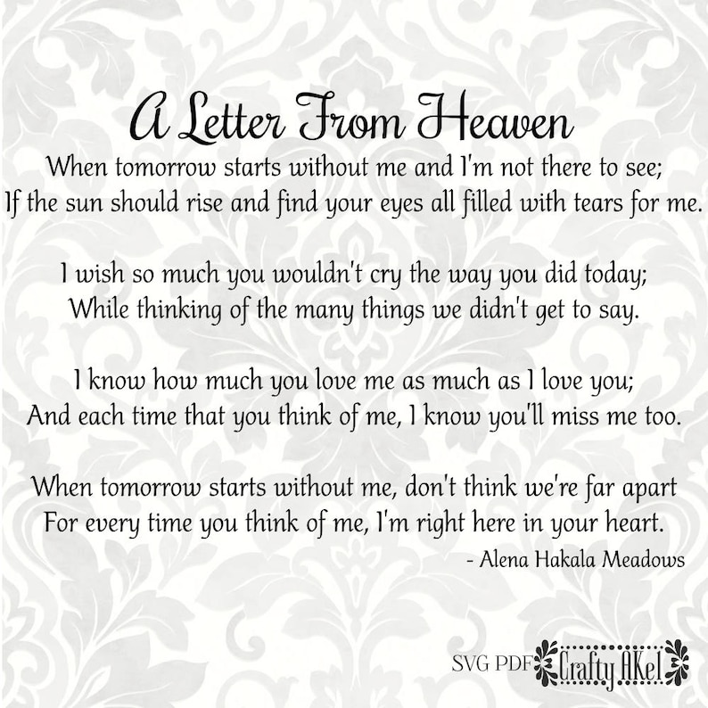 A Letter From Heaven Poem - Bereavement, Mourning, Grief, Sympathy, Funeral  (Svg, Pdf, Png Digital File Vector Graphic)