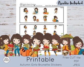 Autumn Girls - Brunette Printable Stickers - Large Medium and Small girl stickers. Functional stickers PDF JPEG and CUT files included