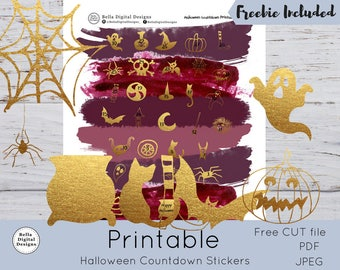 Halloween Countdown Printable Stickers. Gold functional stickers. PDF, JPEG, and CUT files included. Glam icons chic stickers