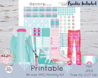 B6 SMC Monthly January Snow Day kit printable planner stickers. B6 size SMC monthly kit. Mountains ski resort ice skating glam