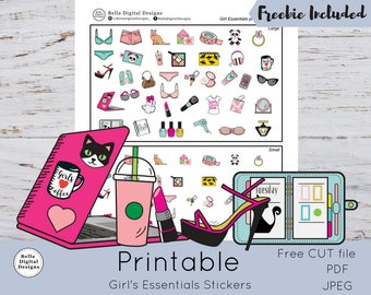 Girl's Essentials Printable Stickers - 38 Large and 38 Small girl's essentials Icons. Functional stickers PDF JPEG and CUT files included