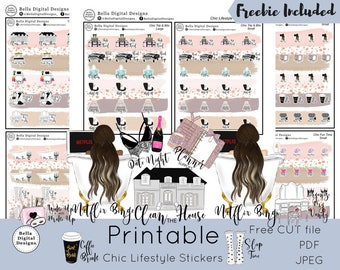 Chic Lifestyle Printable Stickers - Large and Small To Do's 23 glam Icons types. Functional stickers PDF JPEG and CUT files included