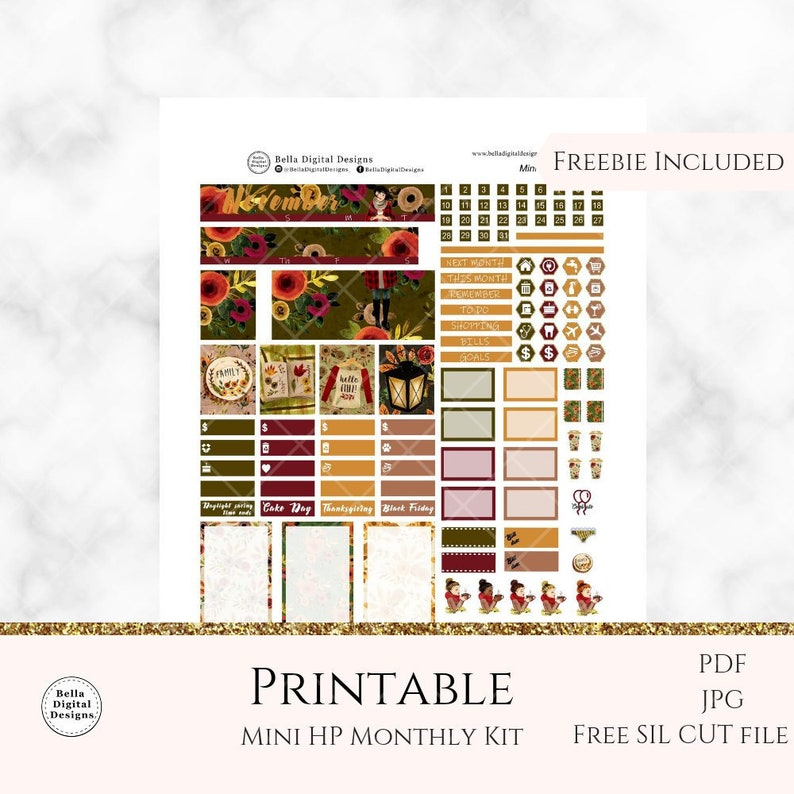 Mini HP November Chilly Day Monthly kit printable planner stickers  Mini HP  monthly kit  Glam glitter planner cozy autumn spice Fall