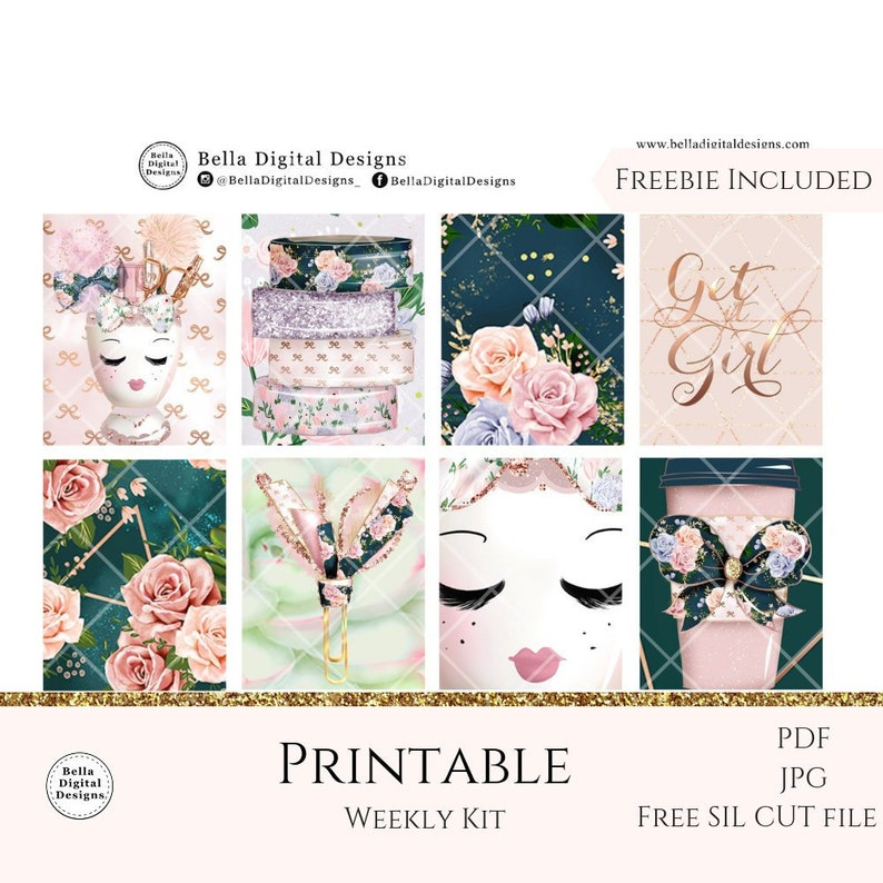 Pink Planning printable planner stickers  Erin Condren and Happy Planner  weekly kit  Glam glitter flowers stationery TN planning feminine