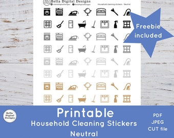Printable Household Cleaning Stickers - Neutral colors. Functional stickers. PDF, JPEG, and CUT files included.