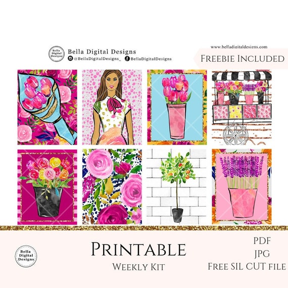 photo relating to Free Printable Happy Planner Stickers called The Florist printable planner stickers. Erin Condren and Pleased Planner weekly package. Glam glitter creating female flower red gold retail store