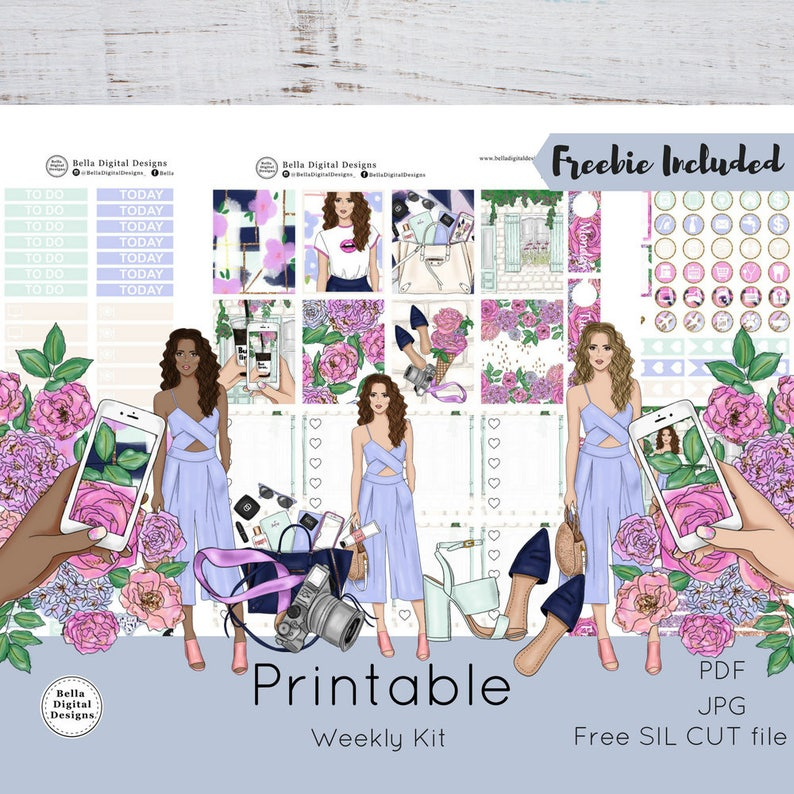 Blogger Life printable planner stickers  Erin Condren and Happy Planner  weekly kit  Glam glitter girls flowers planner photo picture beauty