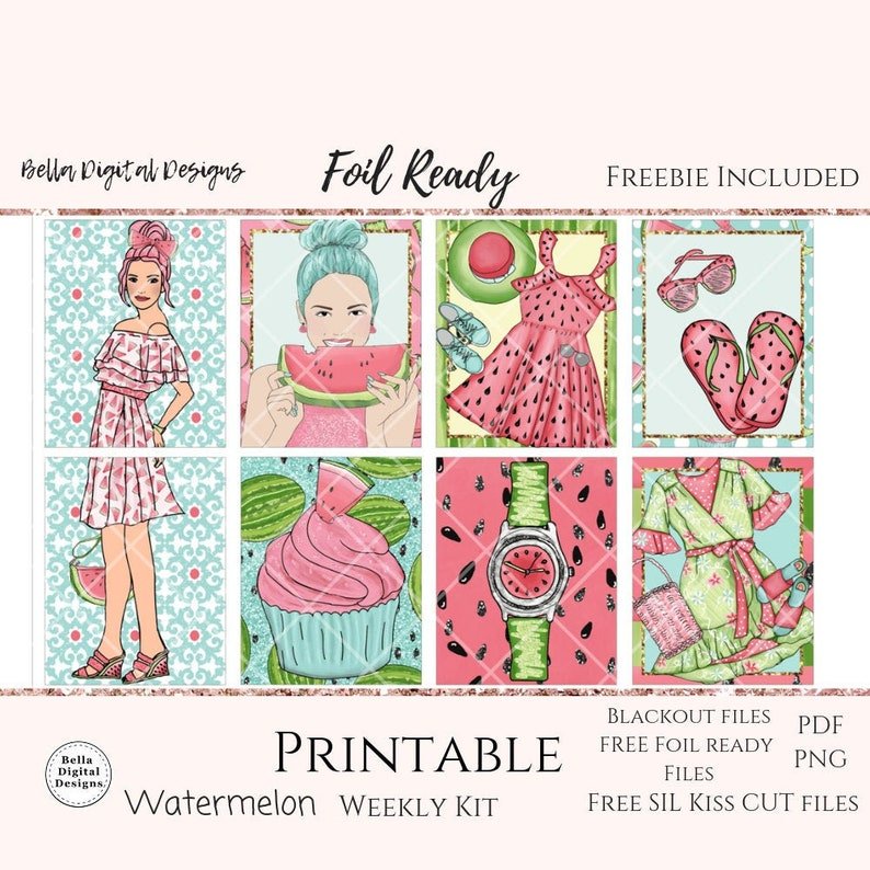 photograph about Happy Planner Free Printable Stickers identify FOIL Prepared Watermelon printable planner stickers. Erin Condren and Pleased Planner weekly package. Glam glitter red woman crimson summer time blue design and style