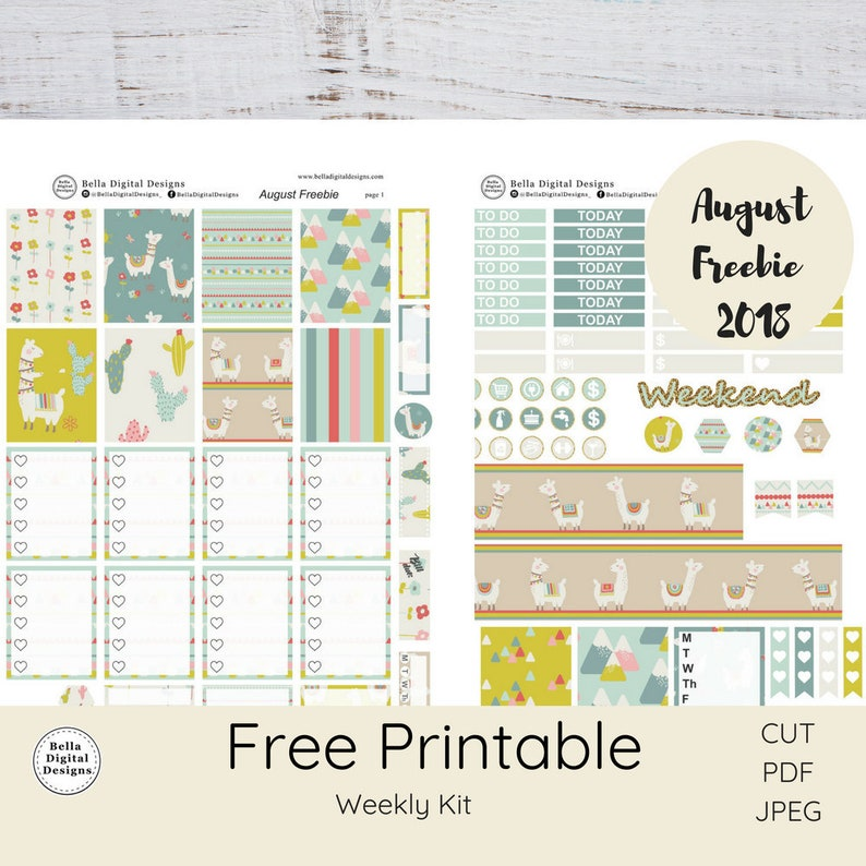 photograph regarding Printable Freebie titled DO NOT Invest in! Cost-free Printable weekly package. Llama August Freebie 2018 package.Erin Condren and Satisfied Planner weekly package. Pastel Mountains cotton