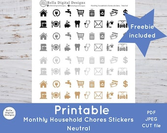 Printable Monthly Household Chores Stickers - Neutral colors. Functional stickers. PDF, JPEG, and CUT files included.