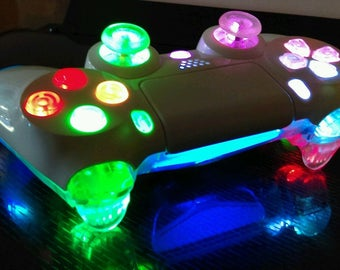 PS4 Custom Wireless Controller/Gamepad - Gloss White on Clear - Multi Color RGB Slow Changing LED with On/Off Switch