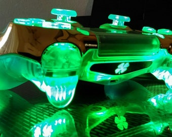 PS4 Custom Wireless Controller/Gamepad - Gold Chrome on Transparent Clear - Green LED with On/Off Switch - Lucky Charm Clover SE