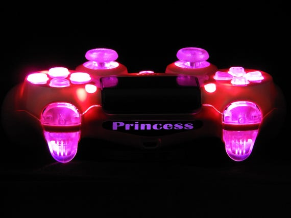 Custom Ps4 Controller Pink Princess Special Edition Led Etsy