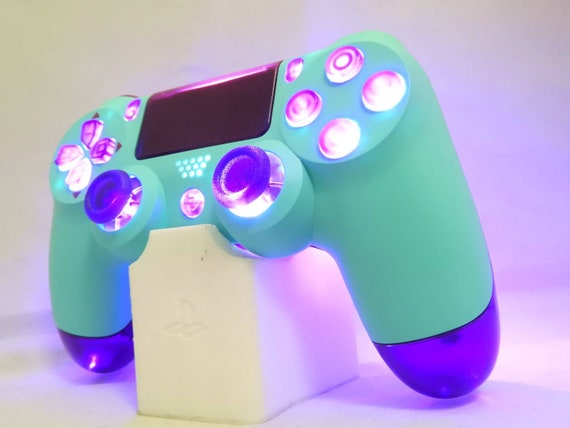 Custom Newly Released Ps4 Dualshock 4 Controller By Sony New Color Design Model Blue Sky Purple Translucent Shell Buttons Led Afterglow by Etsy