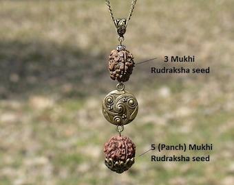 Rudraksha necklace with Ganesha Hindu jewelry Yoga gift | Etsy