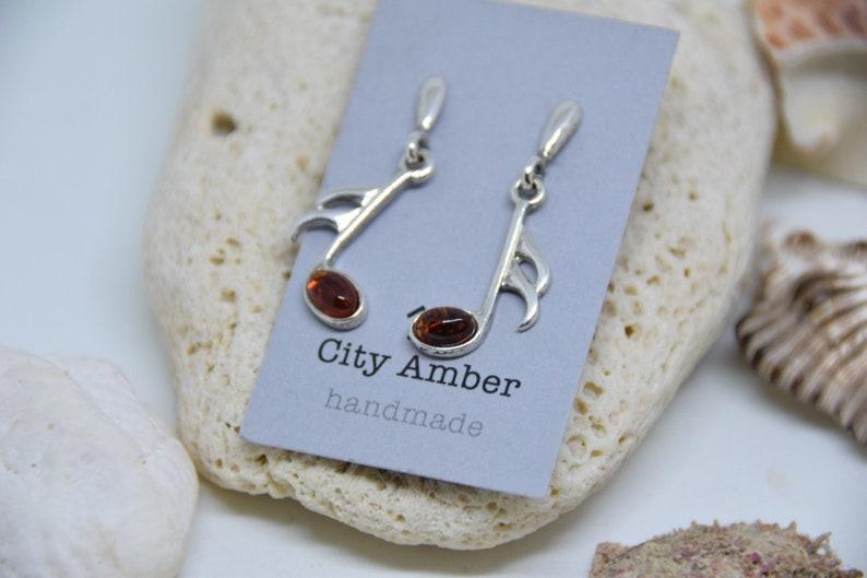 Silver Baltic Amber Earring Cognac Amber Earrings Free shipping Baltic Amber Earrings Gift Box Amber Earring Musical note Earring