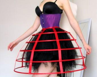 81922115994 Red satin hoop cage skirt boning vintage show victorian crinoline burlesque  boudoir goth