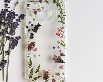 Fancy Pressed Flower Phone Case, Dried Plants Phone Case, iPhone Cases, Samsung Cases, Huawei Cases, Sony Cases, Xiaomi Cases, Handmade Case