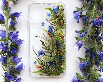 Green Diagonal Phone Case, Handmade Phone Case, Real Flowers Phone Cover, iPhone Case, Samsung Case, Huawei Case, Xiaomi Case, Honor Case