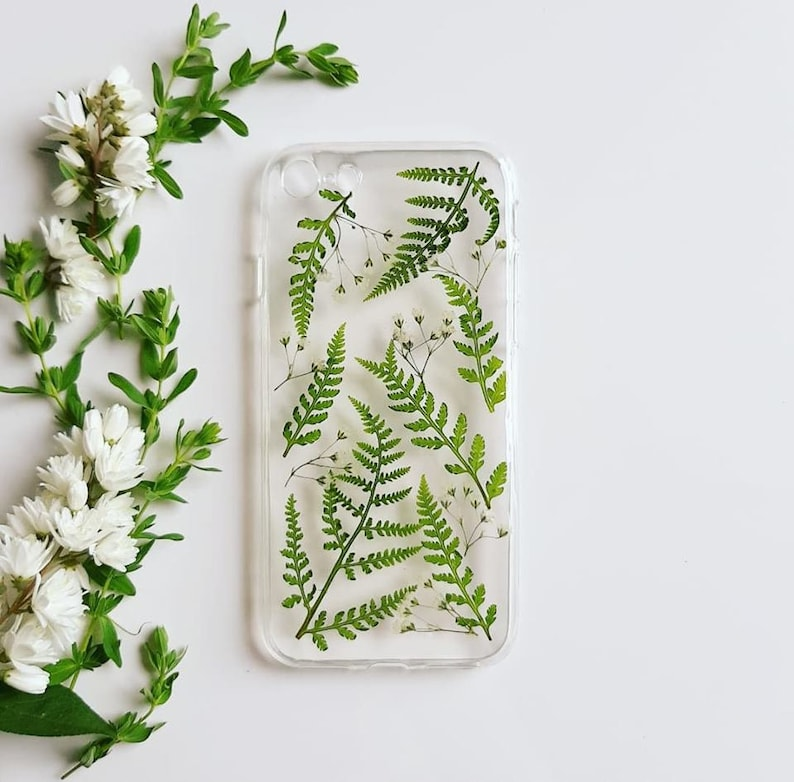 Baby-Fern Pressed Flower Phone Case Real Plants Phone Case image 0