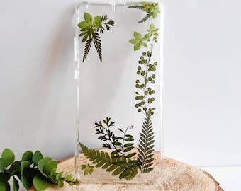 Green Frame Phone Case, Pressed Plants Phone Case, Handmade Phone Case, iPhone Case, Samsung Phone Case, Huawei Phone Case, Real Flowers