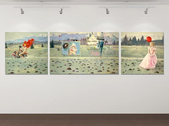 Das Märchen vom Glück (Triptychon) - Kunstdruck Gemälde von Stephanie Oncken