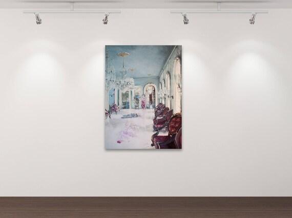 Deutsche Botschaft Indien - Kunstdruck Gemälde von Stephanie Oncken