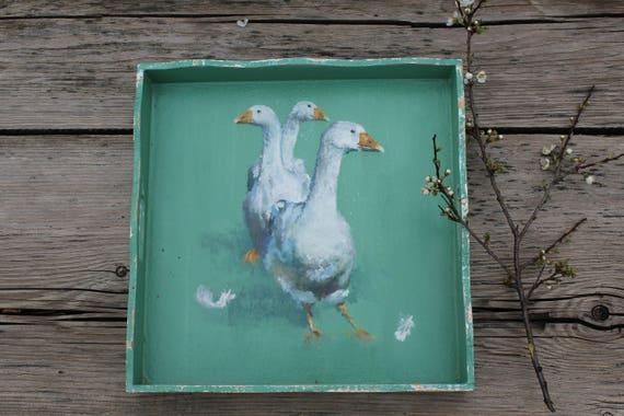 Tablett handbemalt 30 x 30 cm, shabby look