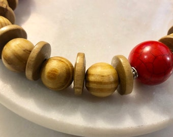 Red Howlite & Wooden Necklace