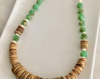 Beach Crystal & Wood Necklace