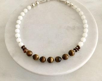 Tigers Eye Quartz & Wood Necklace