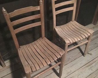 Bon Vintage/Antique Wood Slat Straight Ladder Back Chairs. Set Of Two. Free  Shipping Winthin US