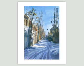 Winter Cityscape - Mentana Laneway in the Snow – Fine Art Print of Original Painting