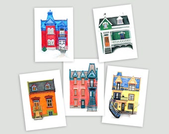 Montreal Art Prints - Set of 5 Colourful Houses (postcard size)