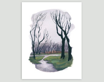 Spring Art Print - Spring Walk in the Rainy Park